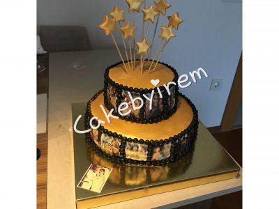 Film şeritli anılarla dolu pasta